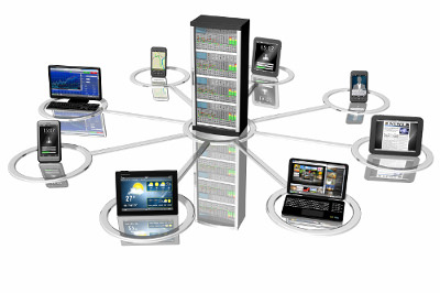 Multiple Devices, computers, laptops and smartphones, surrounding a server
