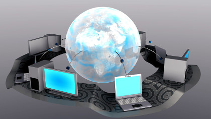 Multiple computers & devices connected through cloud services